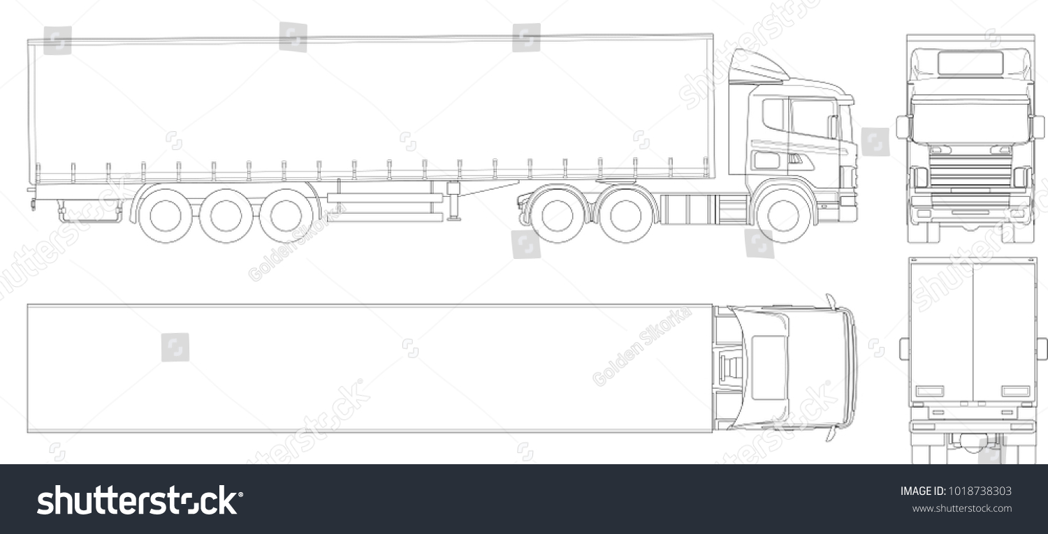 Vector truck trailer outline commercial vehicle cargo delivering vehicle view from side