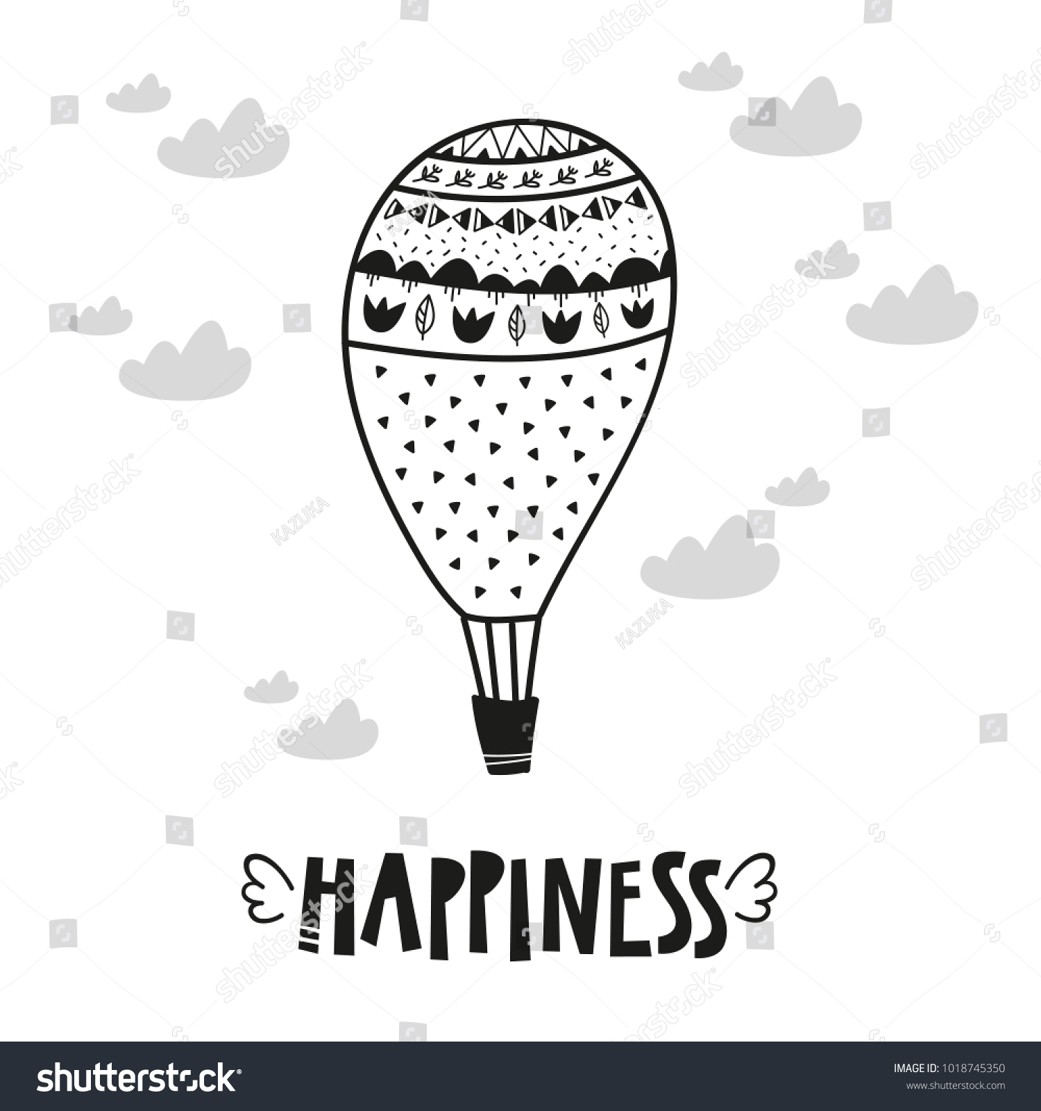 Aerostat Balloon Poster Baby Room Greeting Stock Vector 1018745350