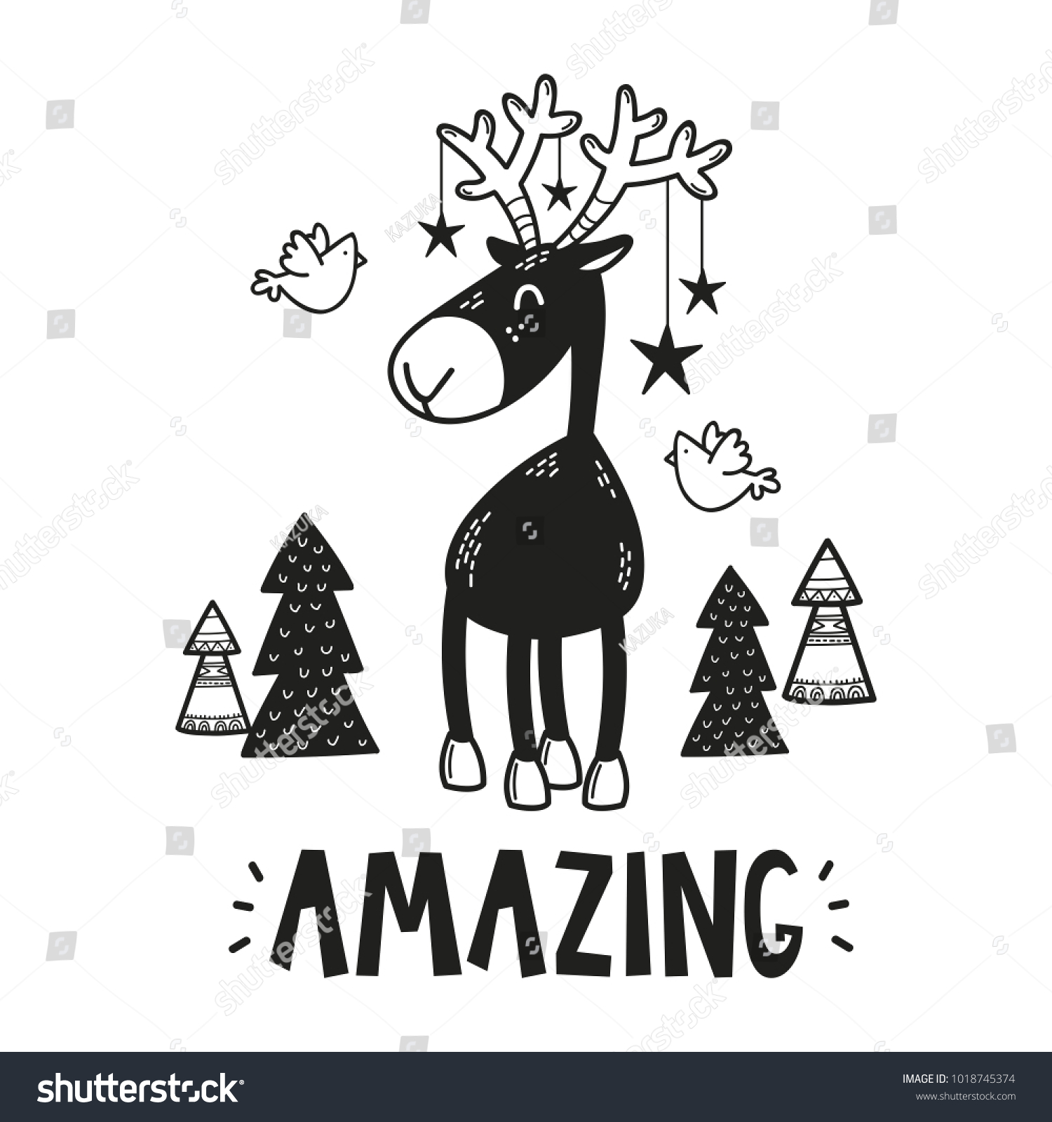Cute Deer Poster Baby Room Greeting Stock Vector Royalty Free