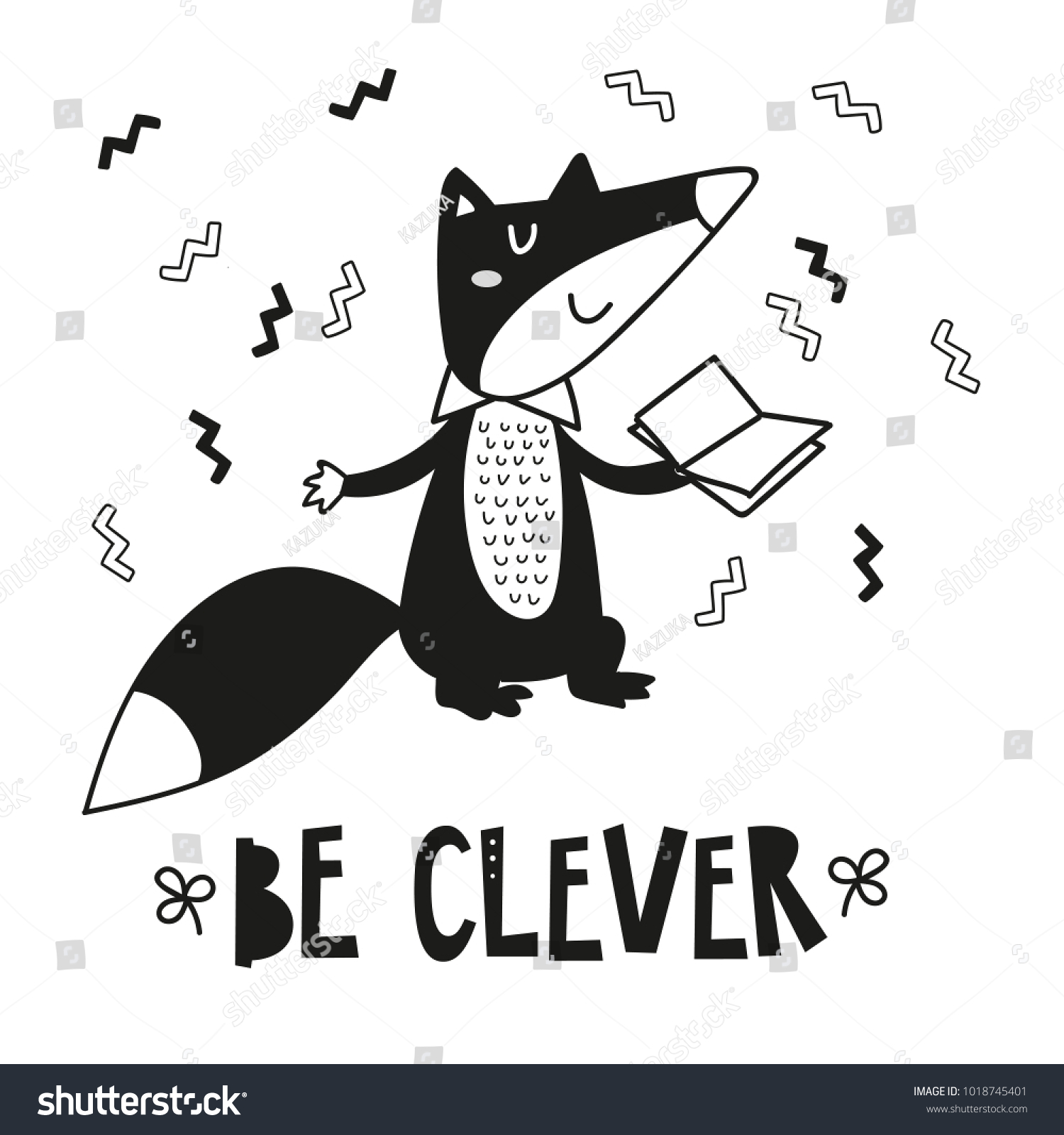 Cute Clever Fox, Poster For Baby Room, Greeting Card, Print