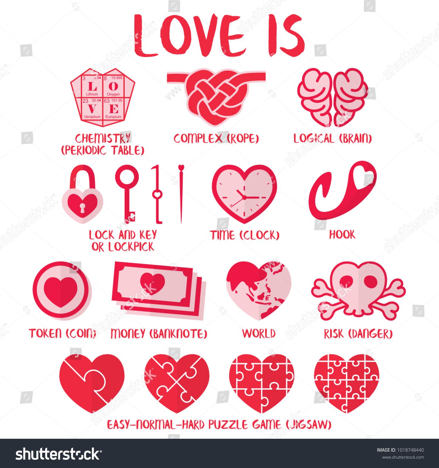 Love Definition Love Heart Symbols Stock Vector Royalty Free