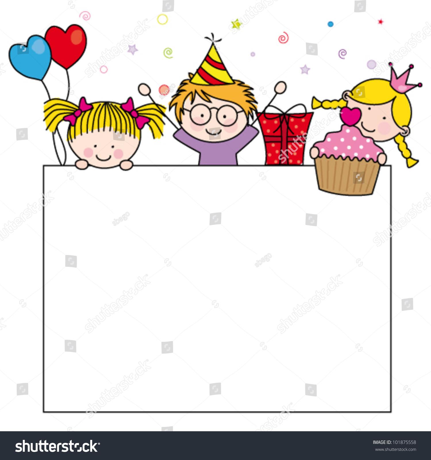Cute Cartoon Kids Frame Celebrating Birthday Stock Vector