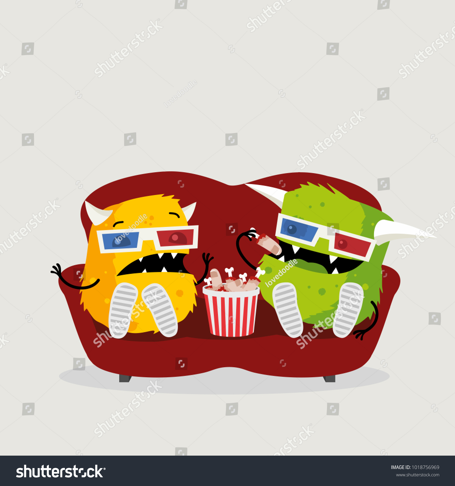 Two Funny Monsters Watching Scary Horror Stock Illustration 1018756969