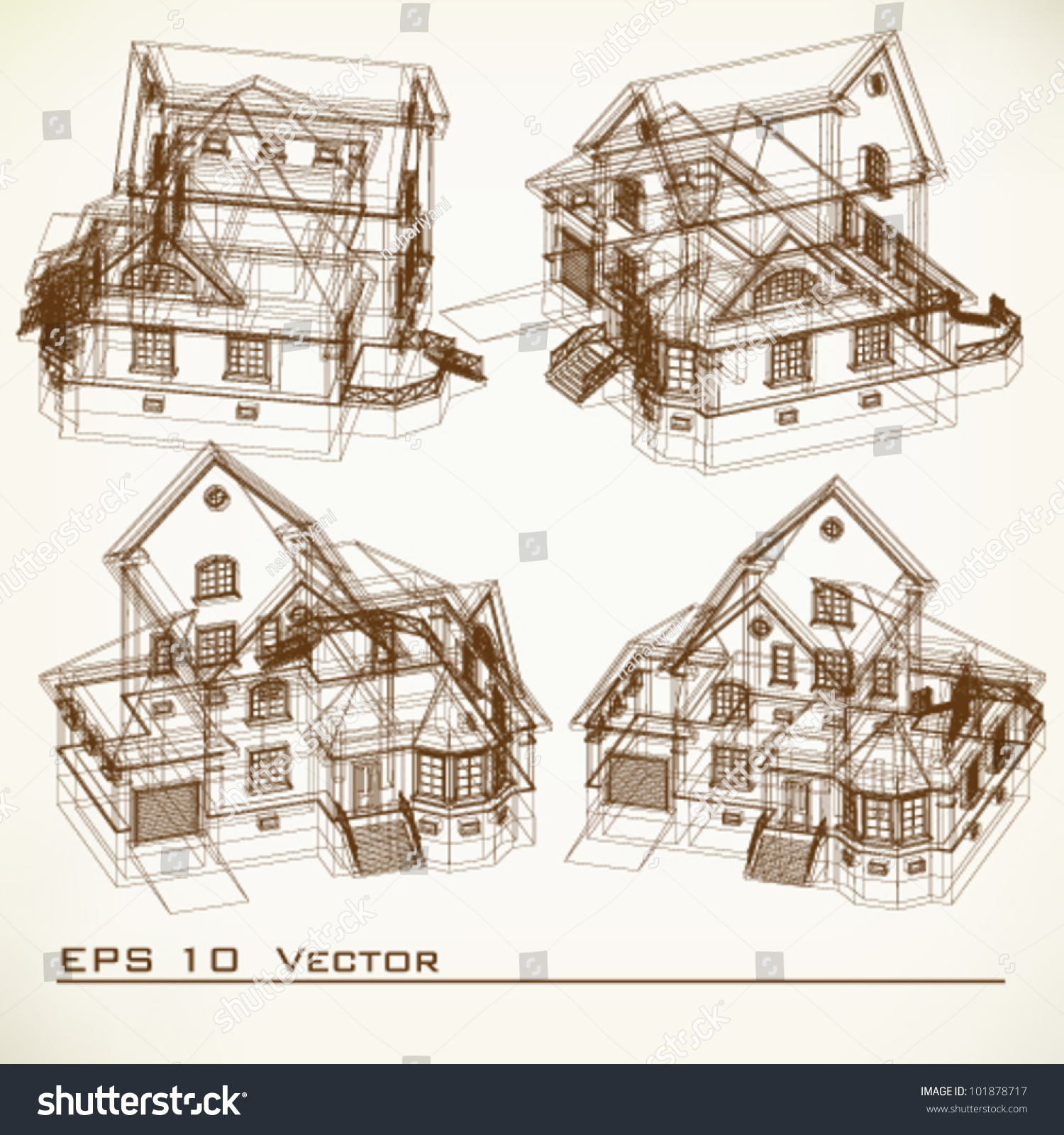 Set of building drawings architectural background part of architectural project architectural plan