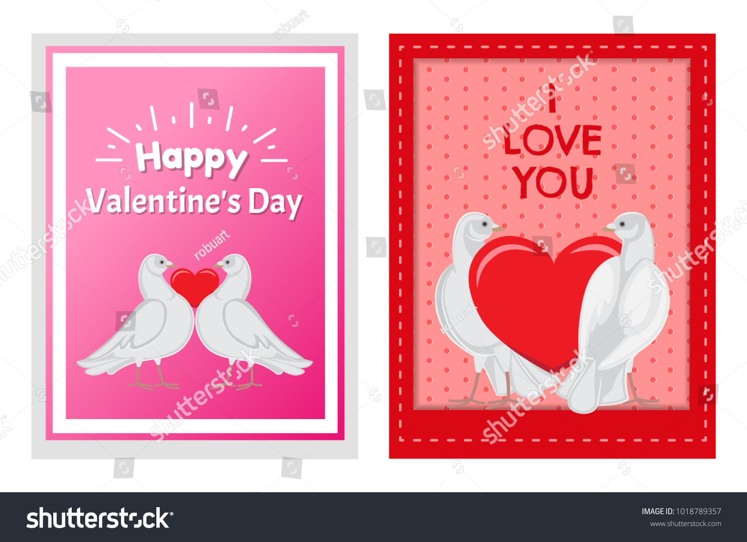 Gorgeous White Doves Couples Love Big Stock Vector 1018789357 ...