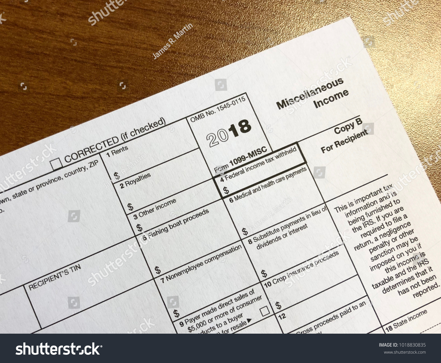 Irs Tax Form 1099 Miscellaneous Income Stock Photo Edit Now