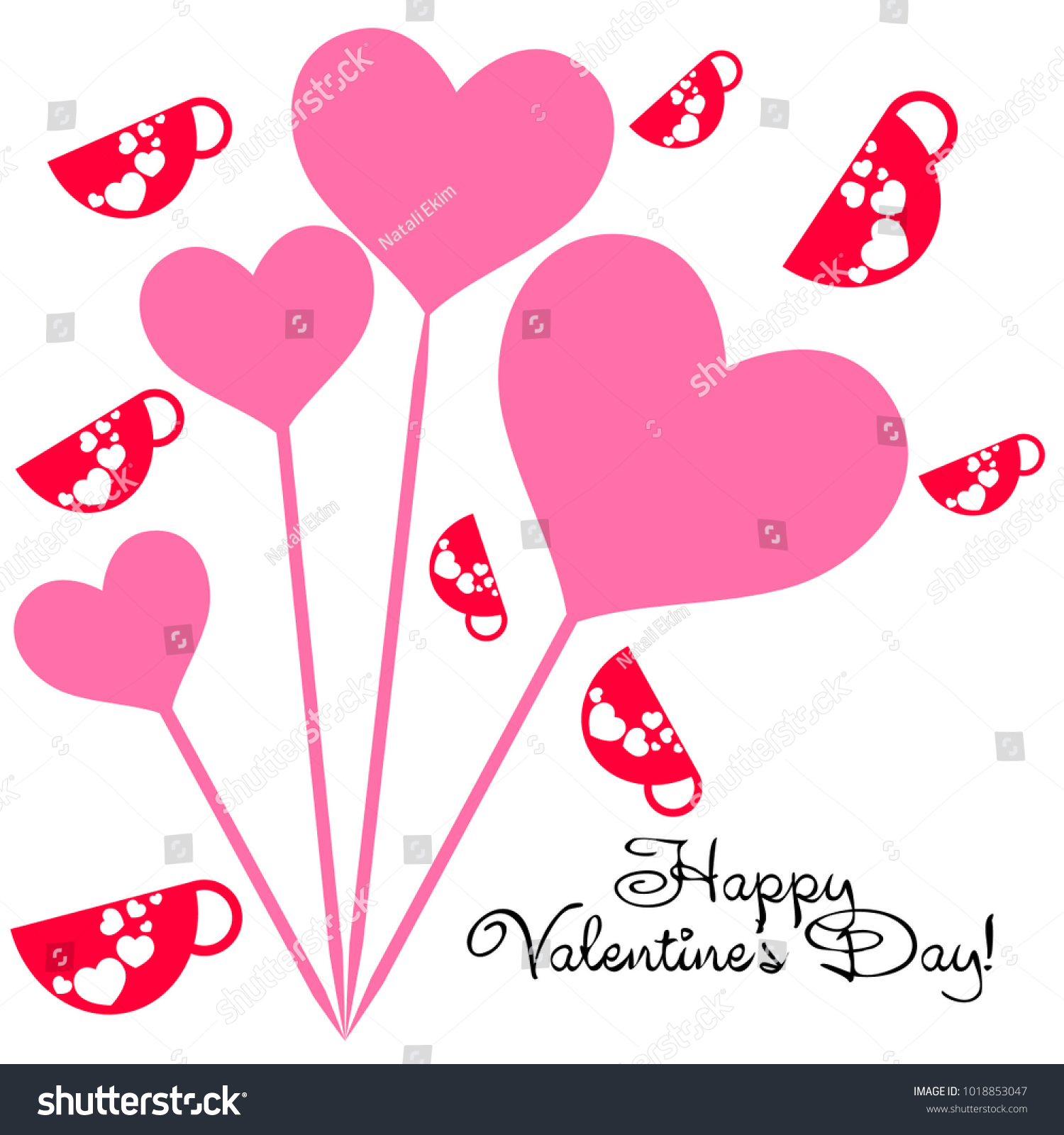 Greeting card st valentines day red stock vector 1018853047 greeting card with st valentines day red mugs for lovers with prints skrdechki kristyandbryce Choice Image