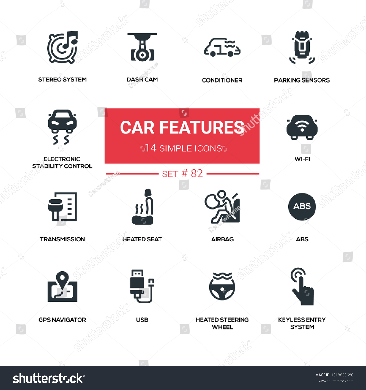 Car Features Line Design Silhouette Icons Stock Vector
