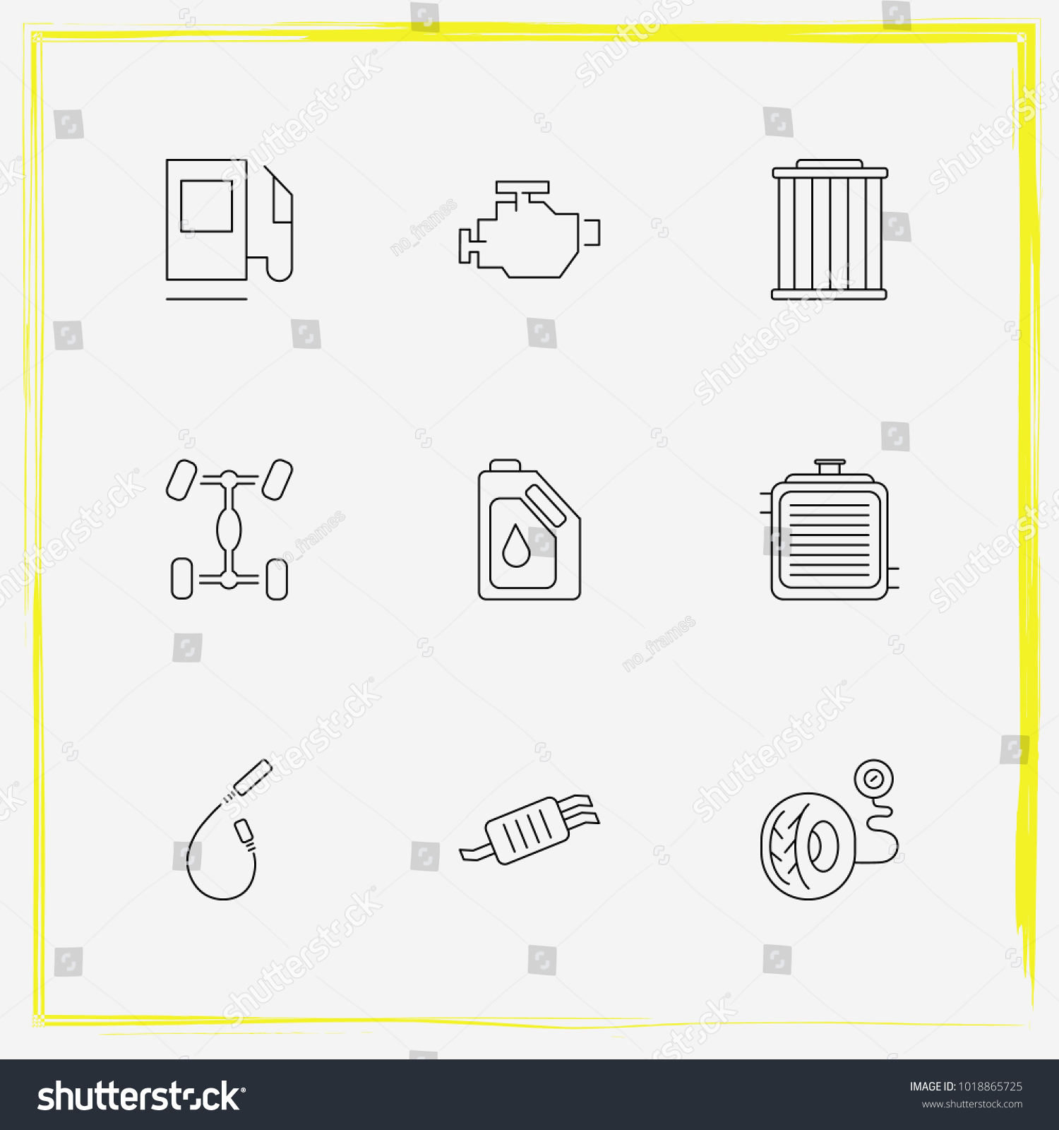 Auto Parts Line Icon Set Chassis Stock Vector HD (Royalty Free ...