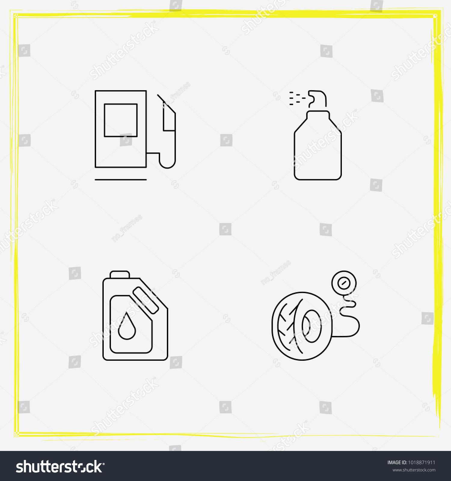 Auto Parts Line Icon Set Oil Stock Vector 1018871911 - Shutterstock