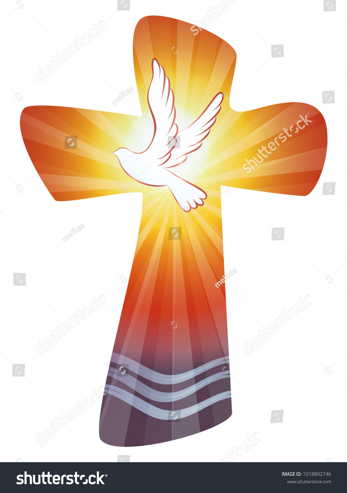 Baptism Christian Cross Water Waves Dove Stock Vector 2018