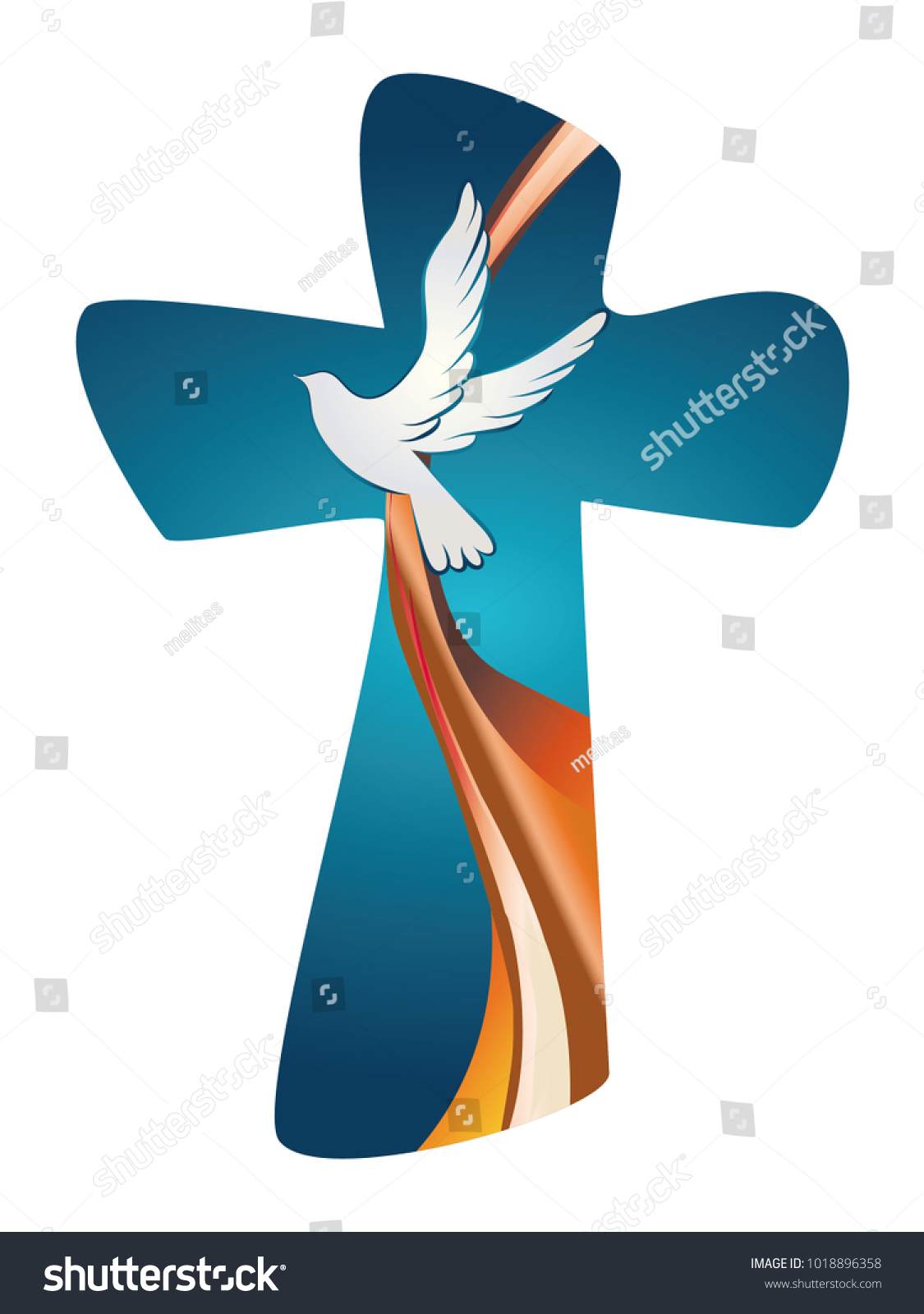 Holy spirit symbol christian cross dove stock vector 1018896358 holy spirit symbol christian cross with dove on blue background biocorpaavc