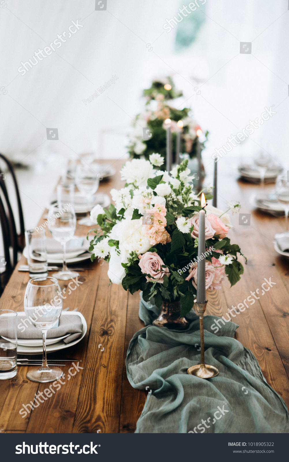Wooden Wedding Table Decoration Flowers Candles Stock Photo Edit Now 1018905322