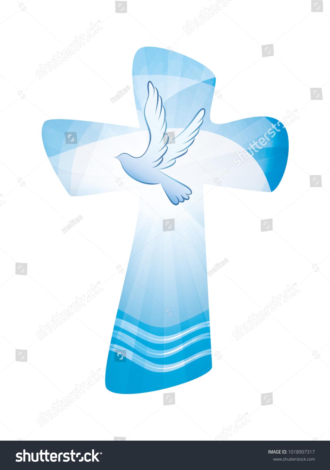 Baptism Christian Cross Whit Waves Water Stock Illustration