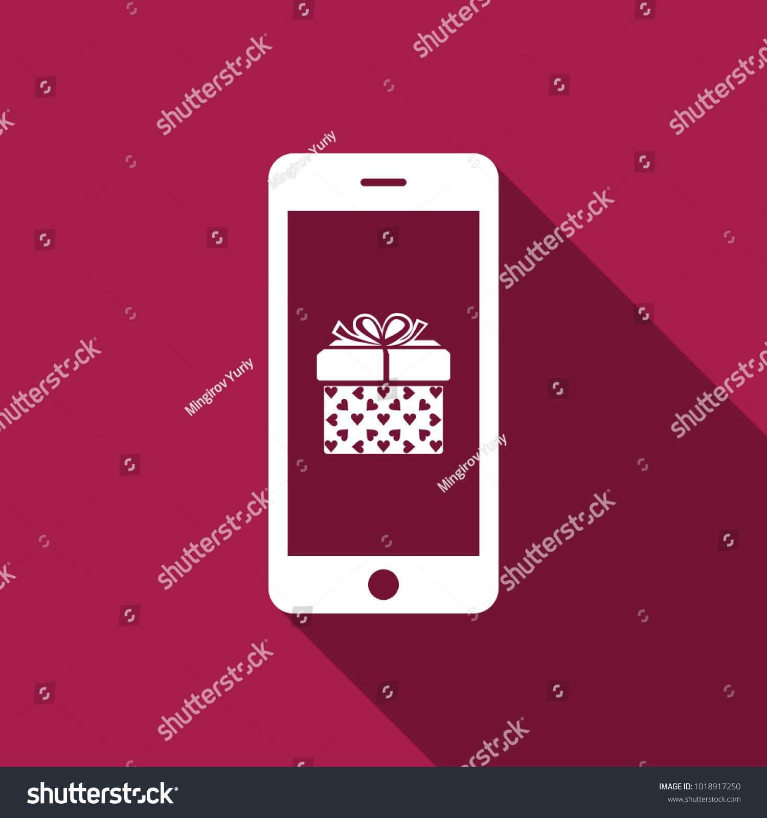 Smartphone Gift Box Heart Symbol On Stock Vector Royalty Free