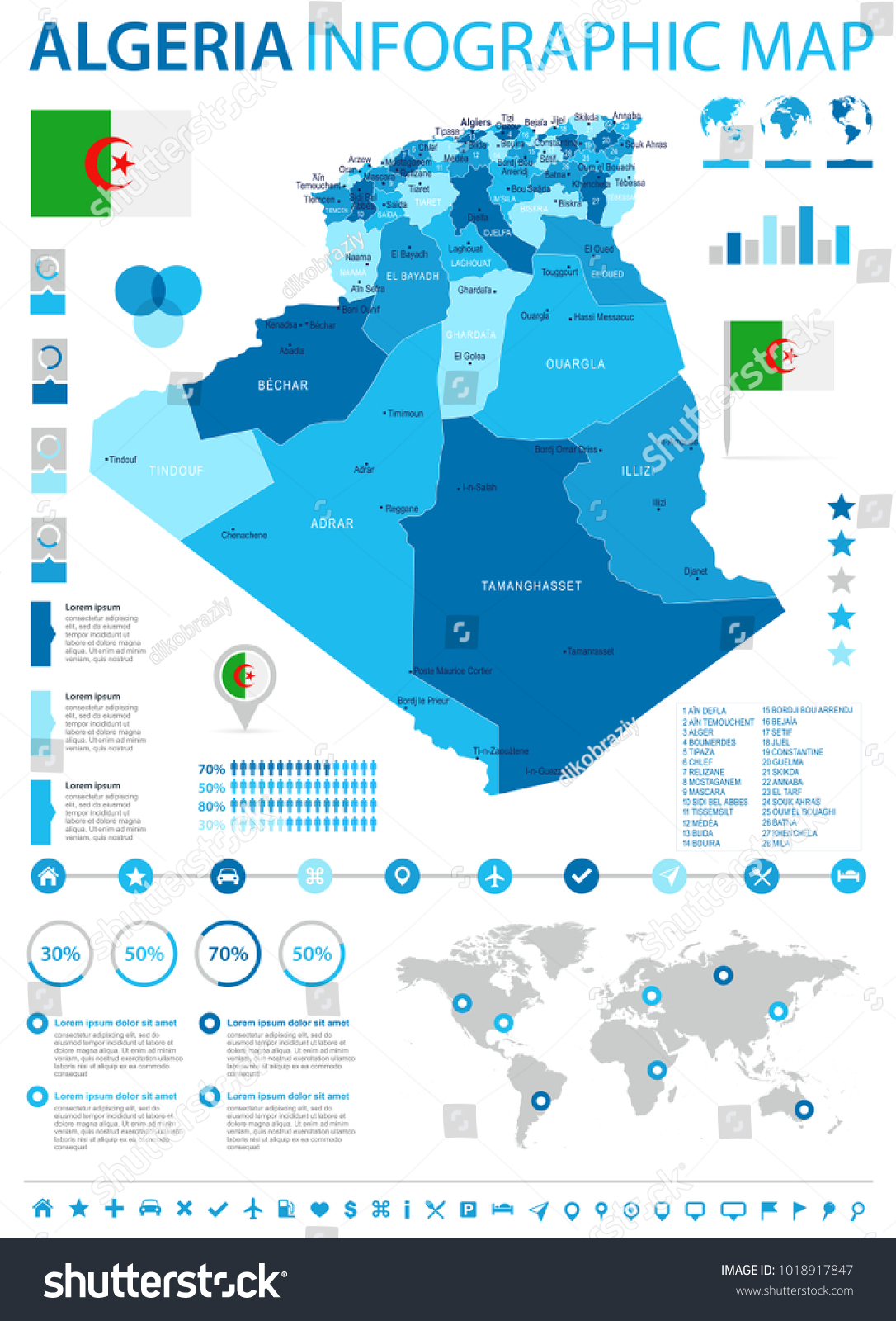 Algeria Infographic Map Flag High Detailed Stock Vector 1018917847