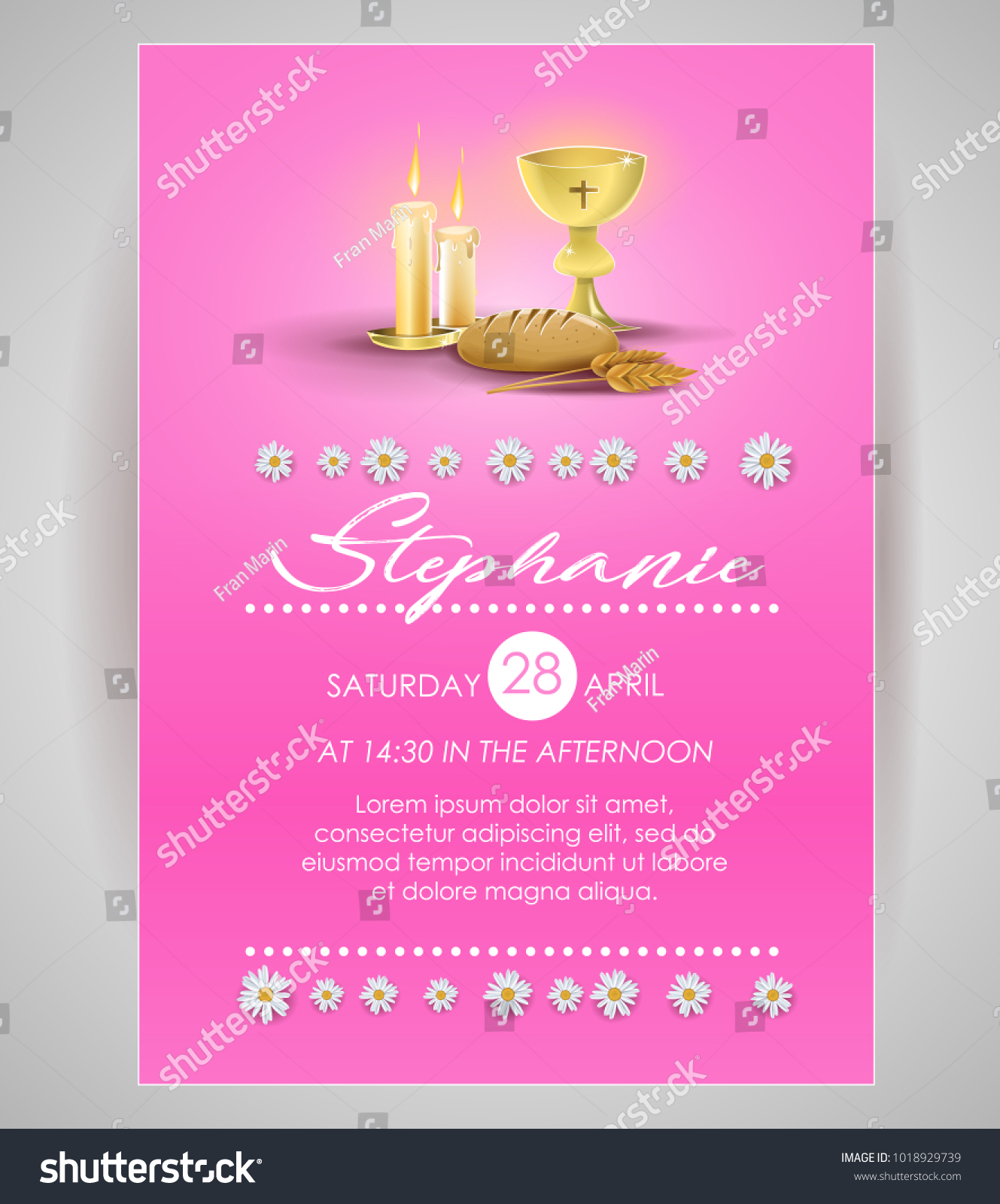 Pink Religious Invitation Card Invitation First Stock Photo Photo