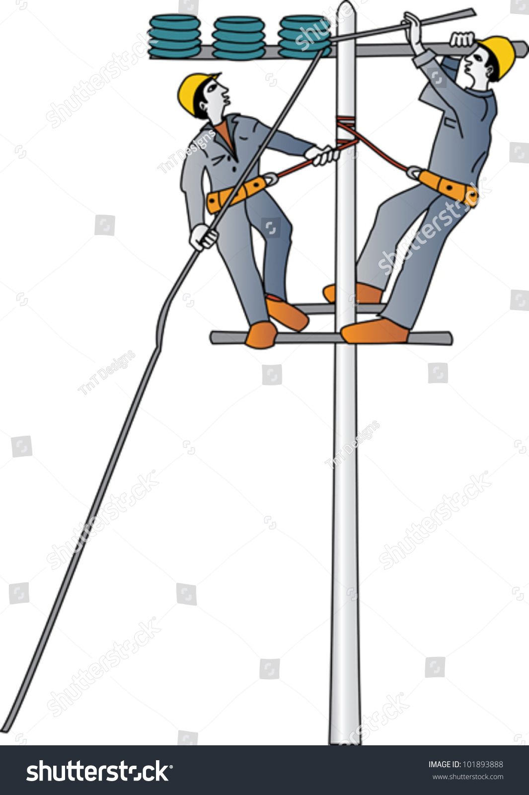 Electricians Repairing High Voltage Electrical Wire Stock Vector ...