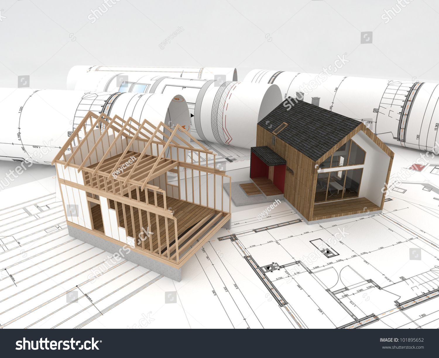 design and construction of wooden house architects technical drawings and design