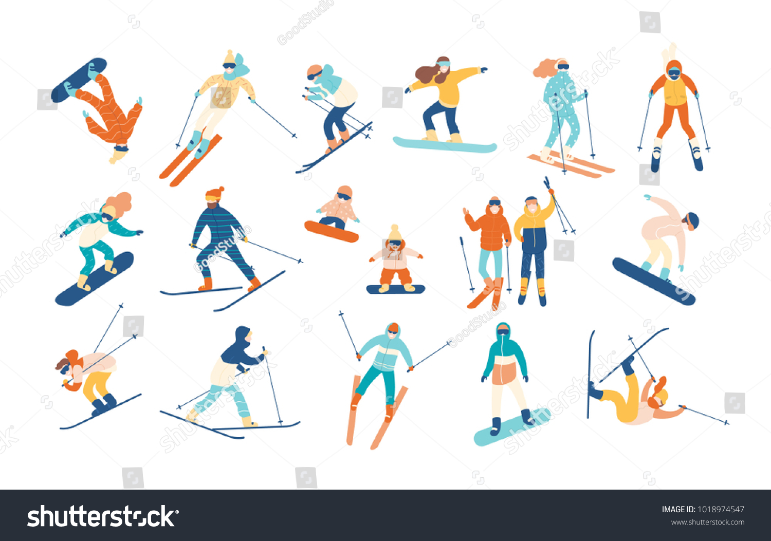 e46d80141039 Adult people and children dressed in winter clothing snowboarding and skiing.  Male and female cartoon