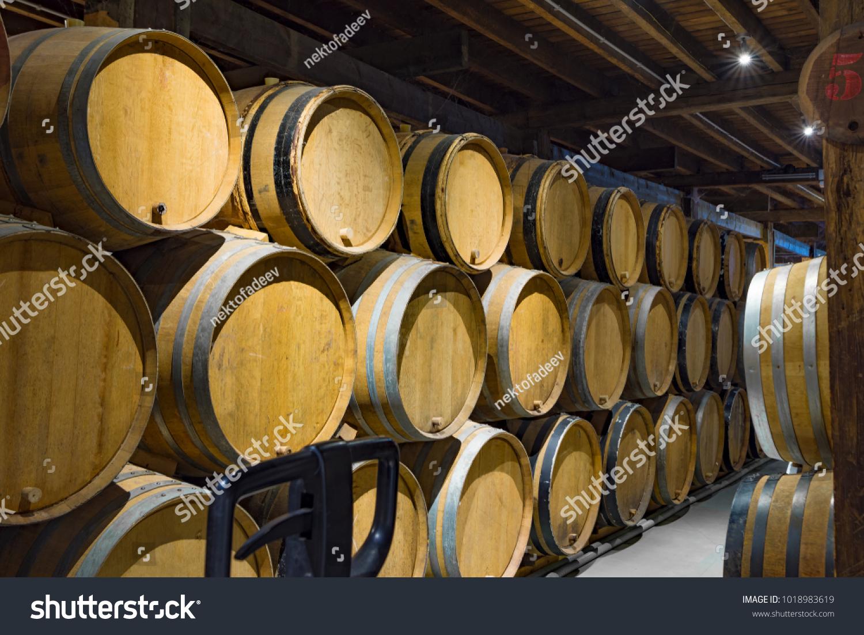 stack wine barrels. Stack Of Oak Barrels In Cellar Old Brewery Brussels, Belgium Wine P