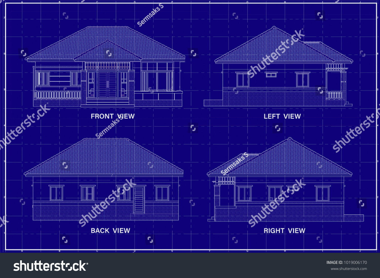Architectural drawing elevation house on blueprint stock architectural drawing elevation house on blueprint stock illustration 1019006170 shutterstock malvernweather Image collections