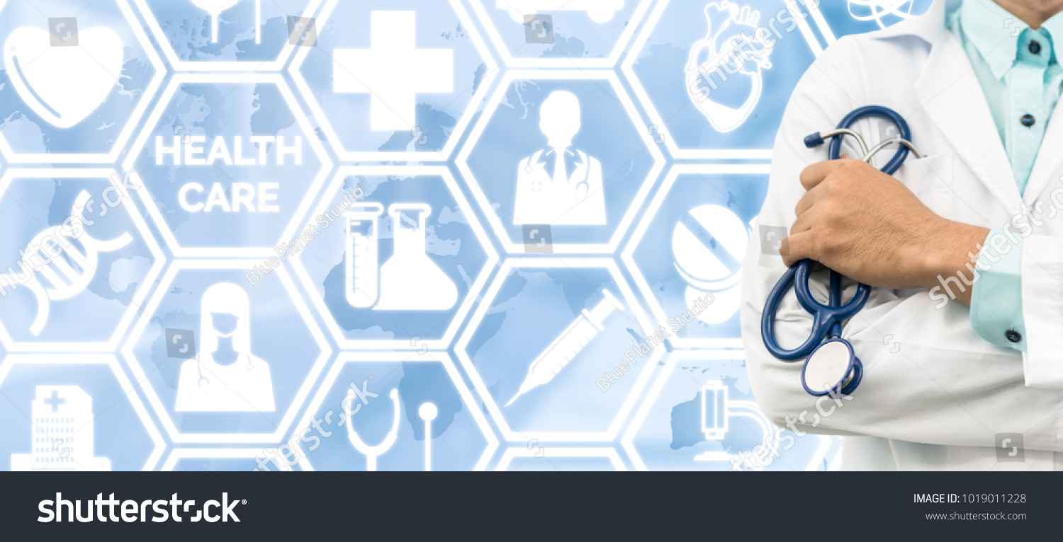 Healthcare Concept Doctor On Medical Icons Stock Photo Edit Now