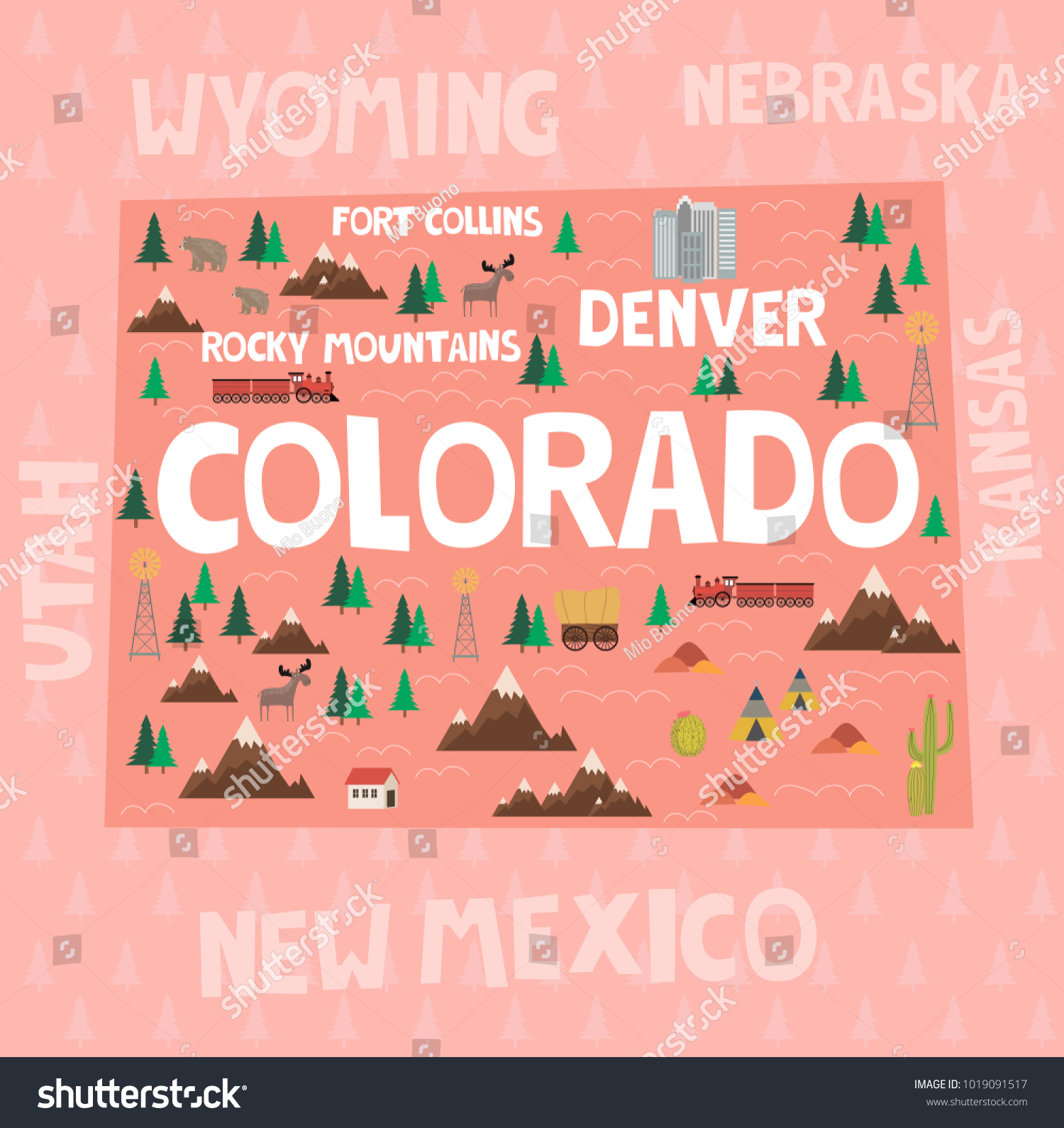 illustrated map state colorado united states stock vector royalty