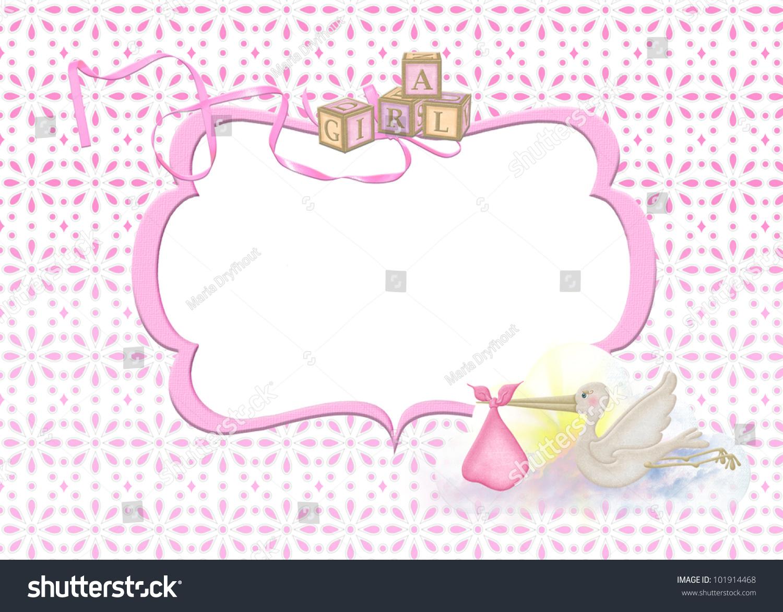 Baby Girl Frame Stork On Eyelet Stock Illustration 101914468 ...