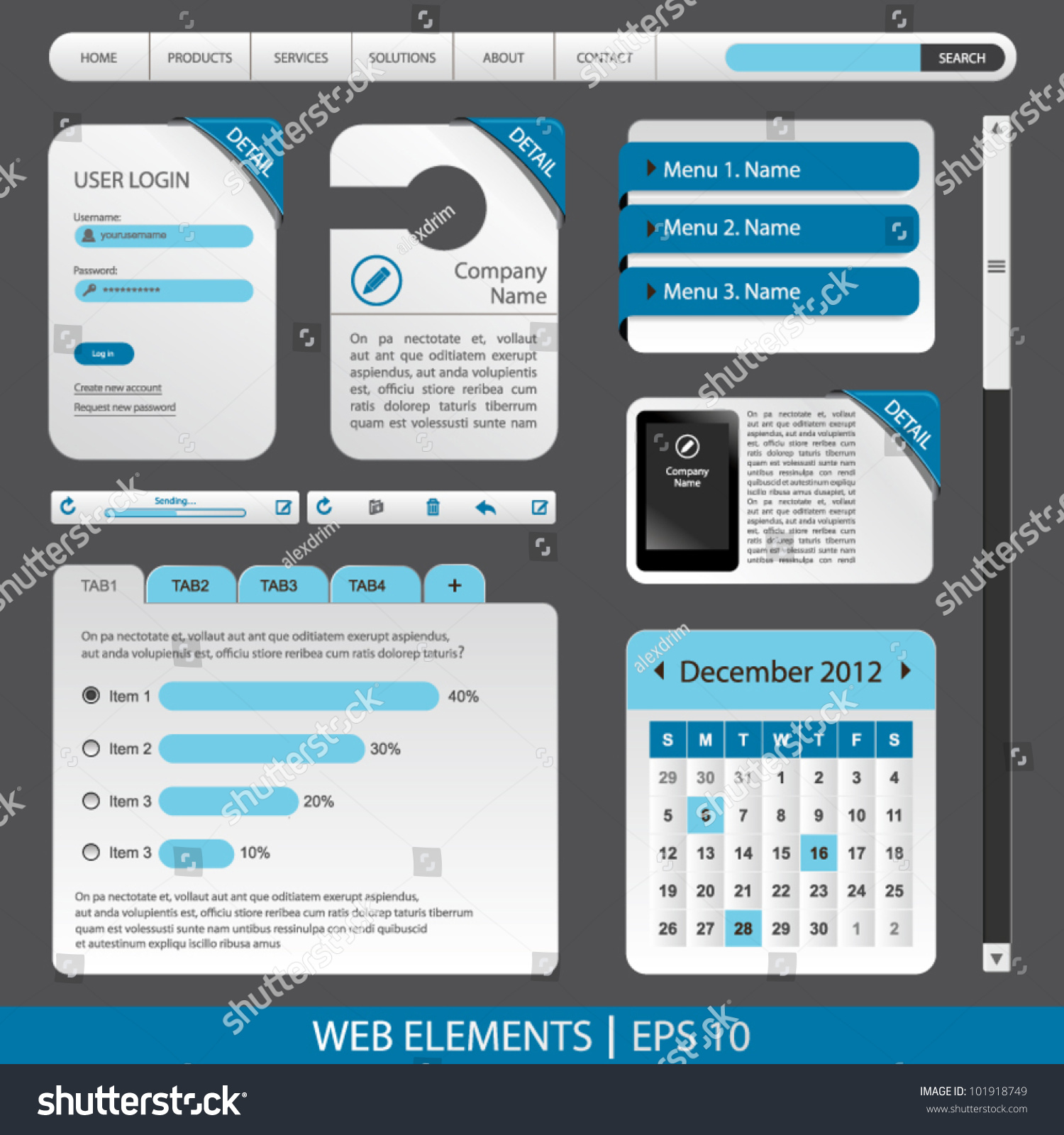 Illustration Set Web Form Templates On Stock Vector 101918749 ...