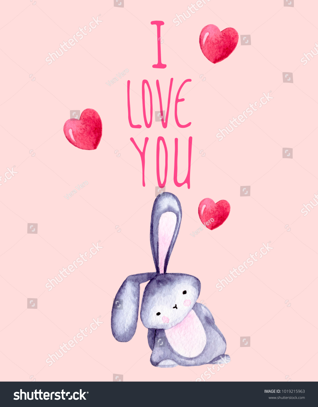 Lettering Quote Love You Cute Bunny Stock Illustration ...