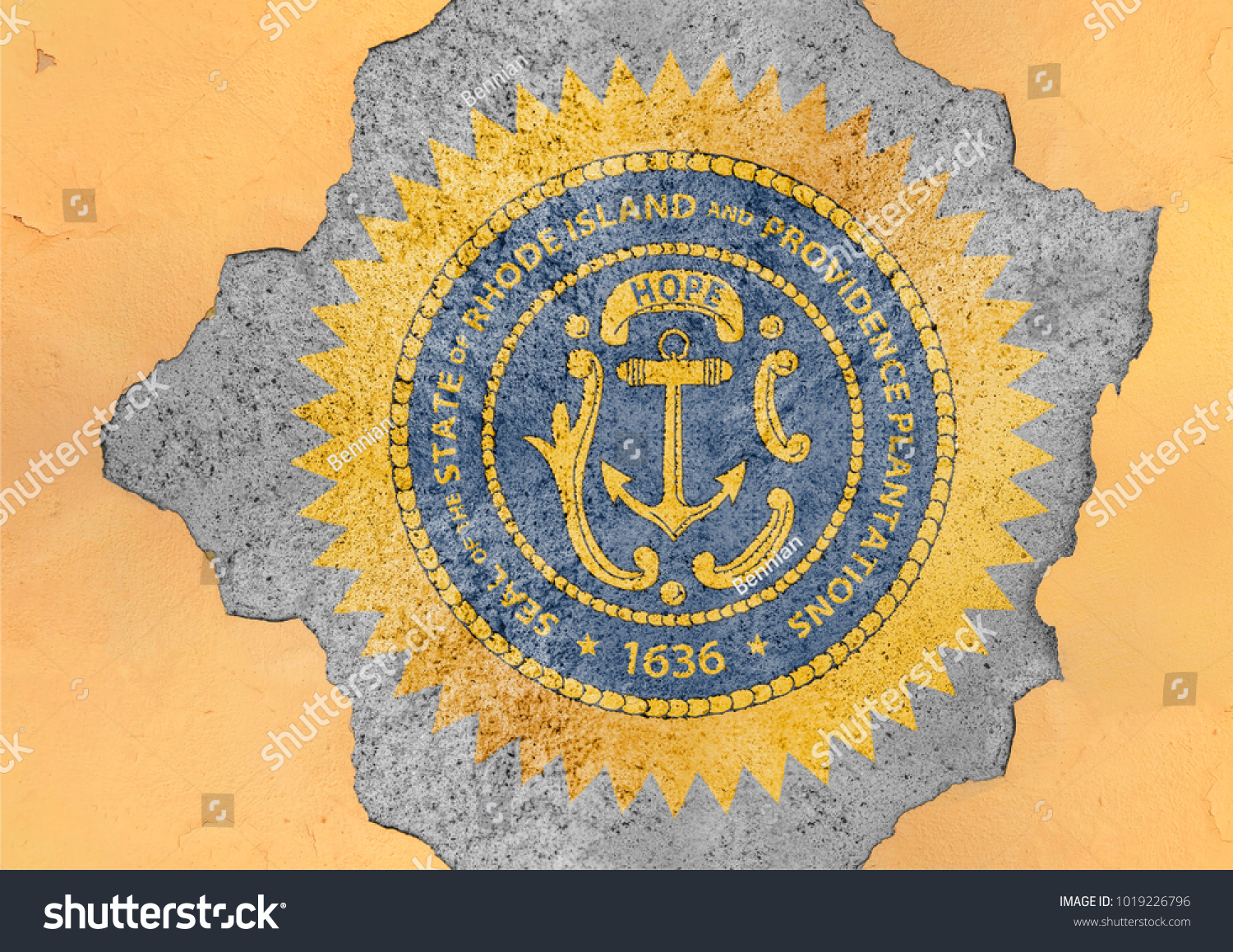 Cracked hole us state rhode island stock photo 1019226796 cracked hole with us state rhode island seal flag abstract in facade structure big damaged concrete biocorpaavc Choice Image