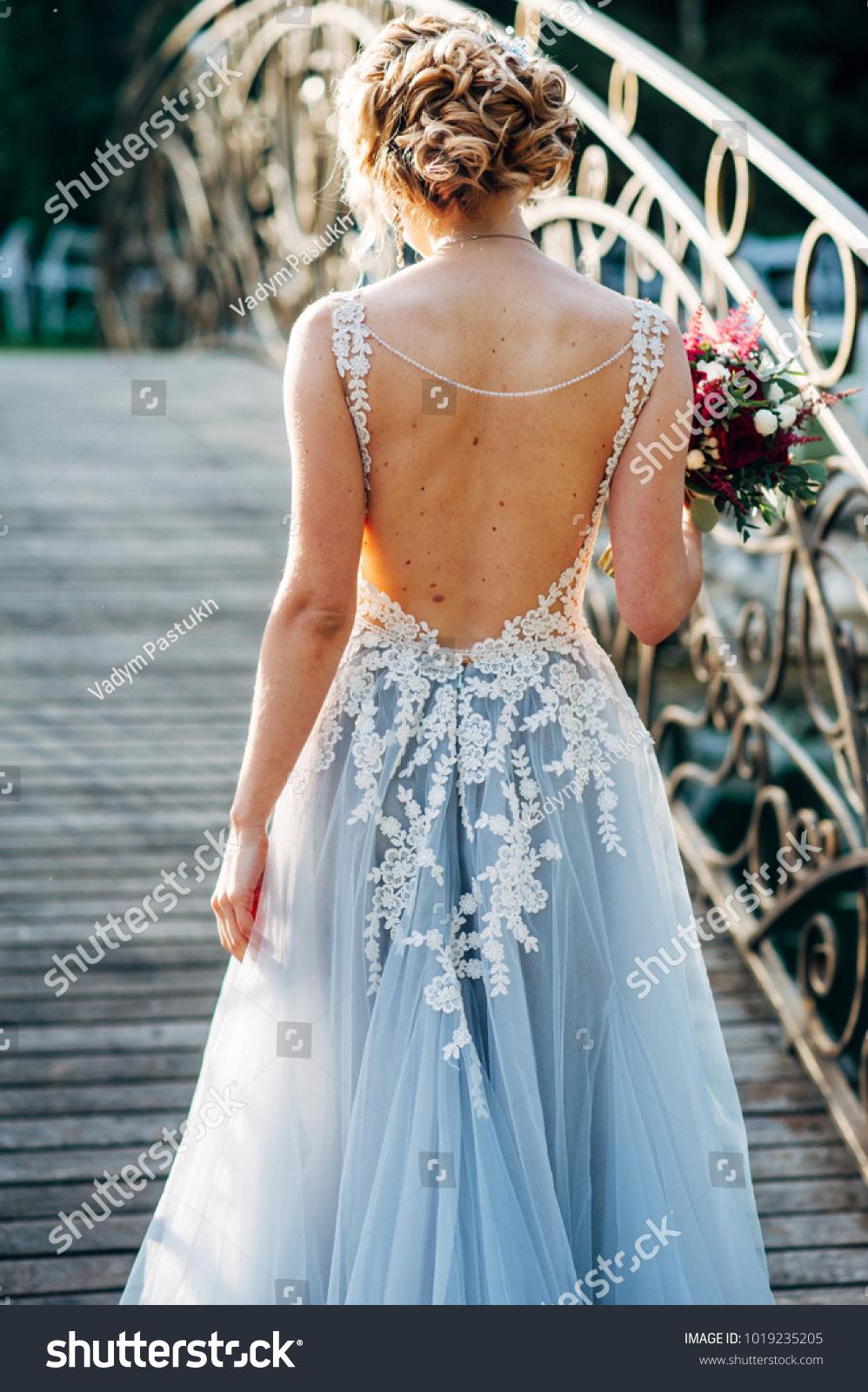 Bride Walking Across Bridge Grey Wedding Stock Photo (Edit Now ...