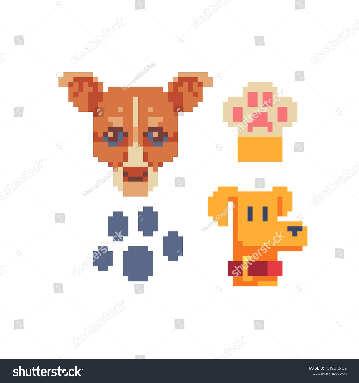 cute dogs paw footprint pixel art stock vector royalty free