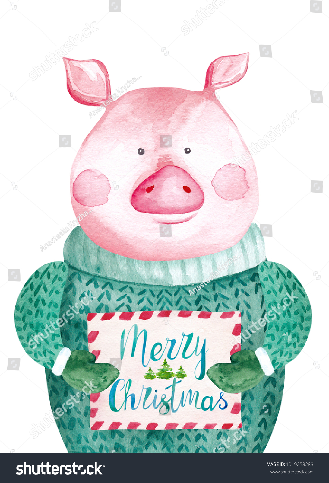 Watercolor Pig Sweater Holding Christmas Card Stock Illustration