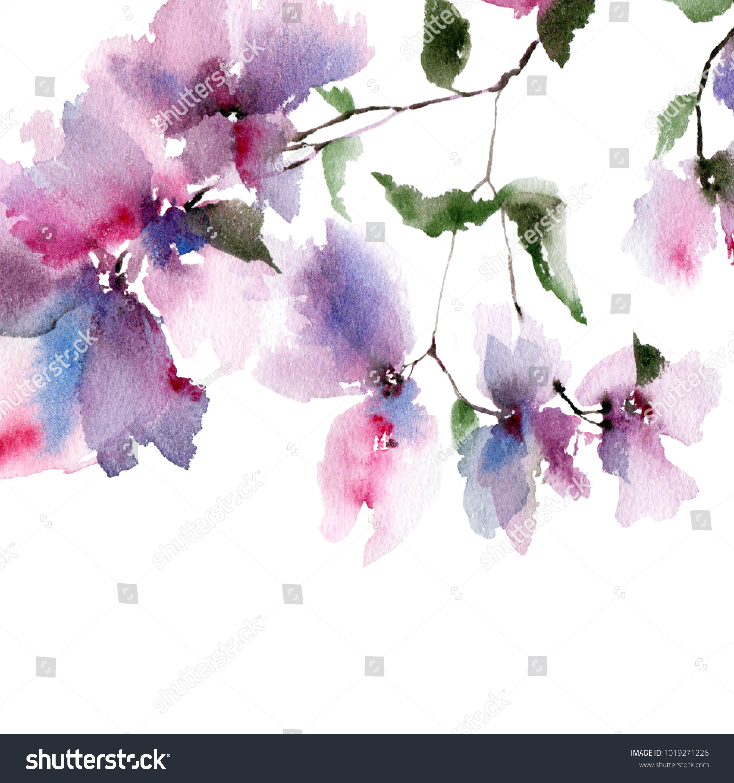 Floral Background Watercolor Floral Bouquet Birthday Card Ez Canvas