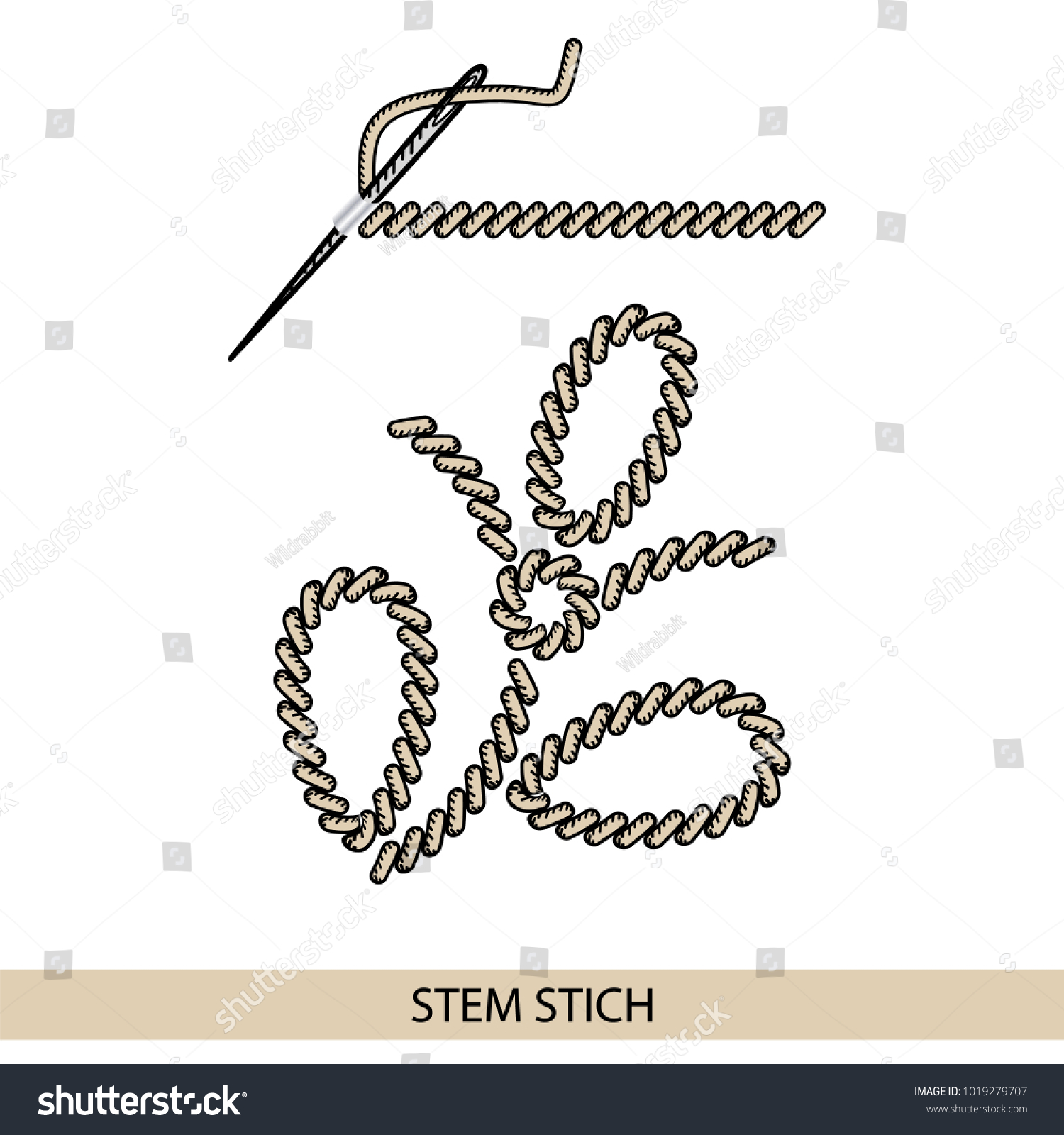 Stitches Back Stitch Type Vector Collection Stock Vector Royalty