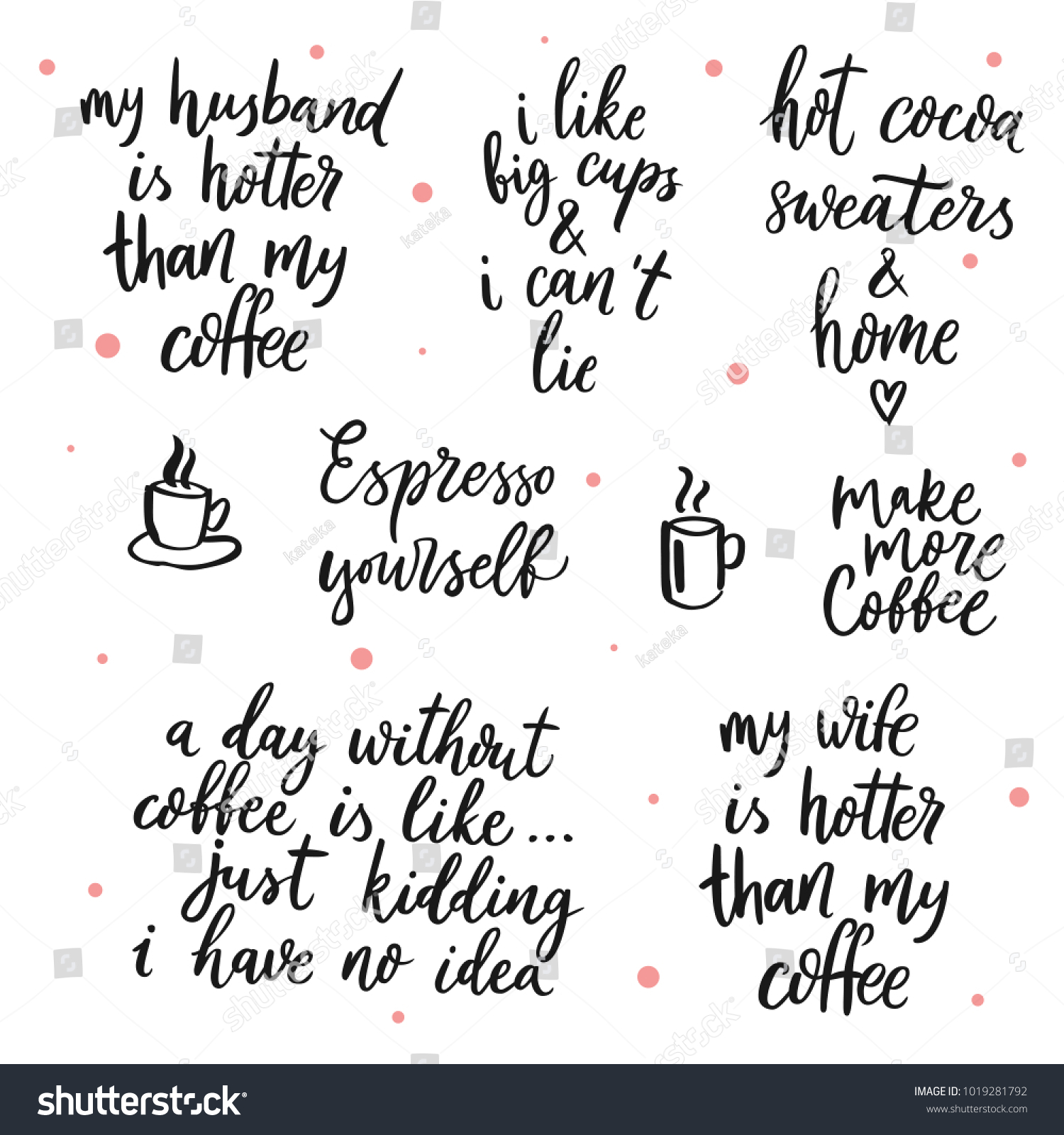 Set Vector Quotes About Coffee My Stock Vector Royalty Free