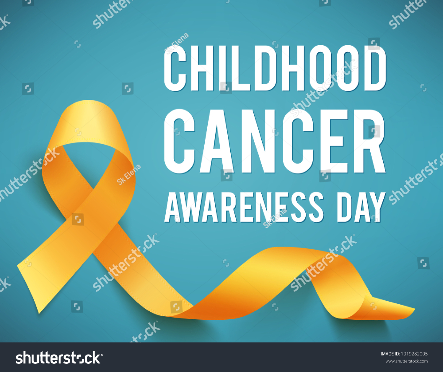 Poster childhood cancer awareness day symbol stock illustration poster for childhood cancer awareness day with symbol realistic yellow ribbon illustration buycottarizona Images