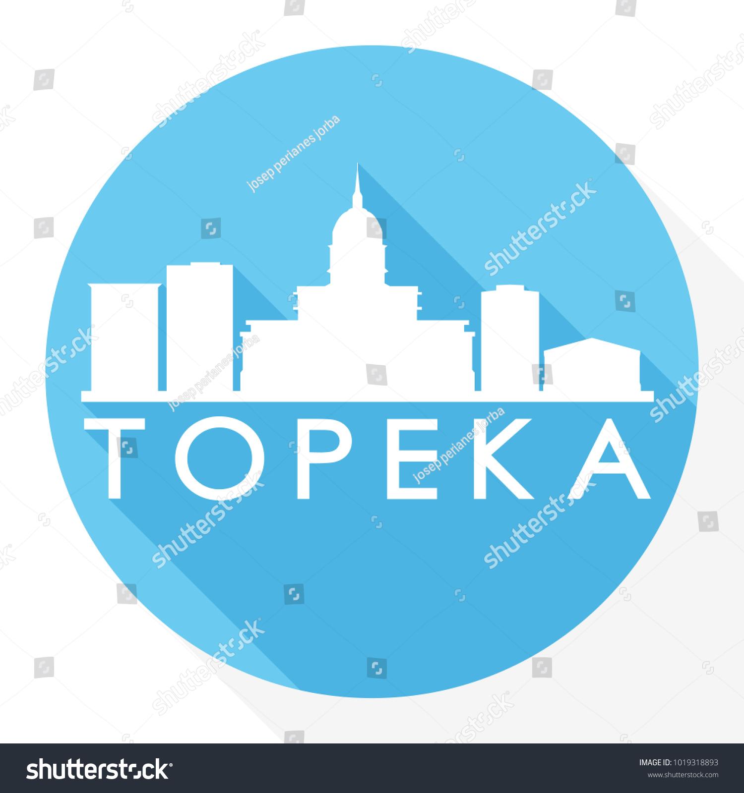 Topeka Kansas USA Flat Icon Skyline Vector de stock1019318893 ...
