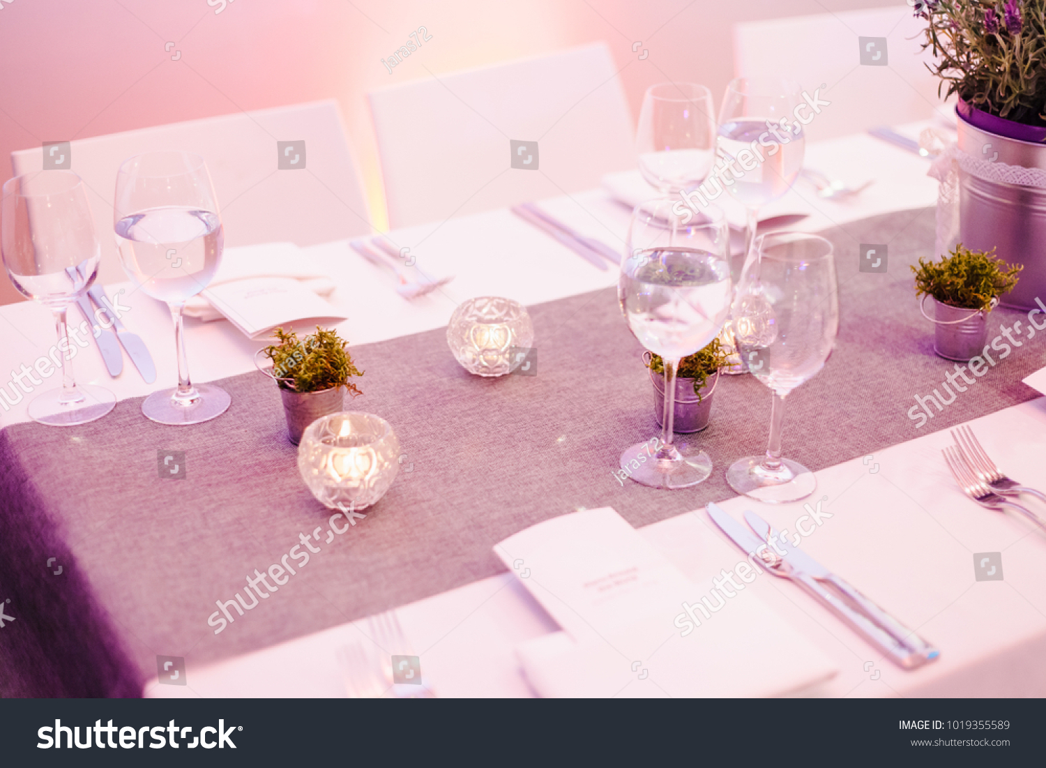 Wedding Table Decoration Luxury Restaurant Table Stock Photo ...