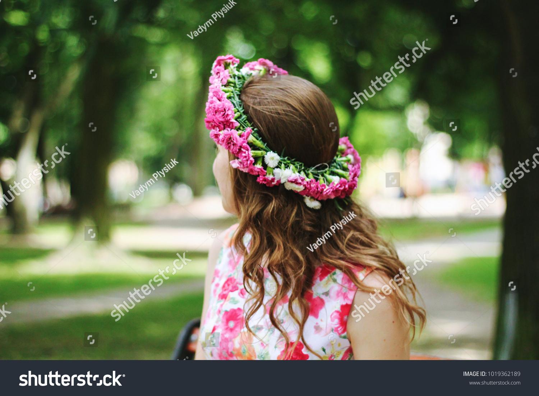 Beautiful Girl Pink Flower Crown Turns Stock Photo Edit Now