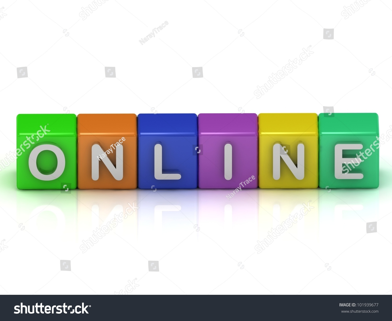 Online Cubes 3d Render Illustration Inscription On The