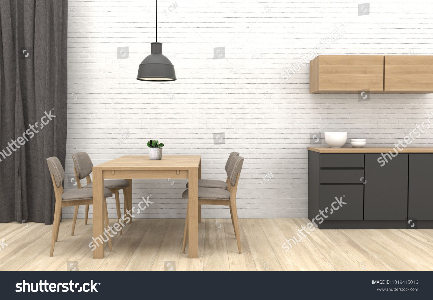 Modern Diningroom Interior Design Cactus Pot Stock Illustration ...