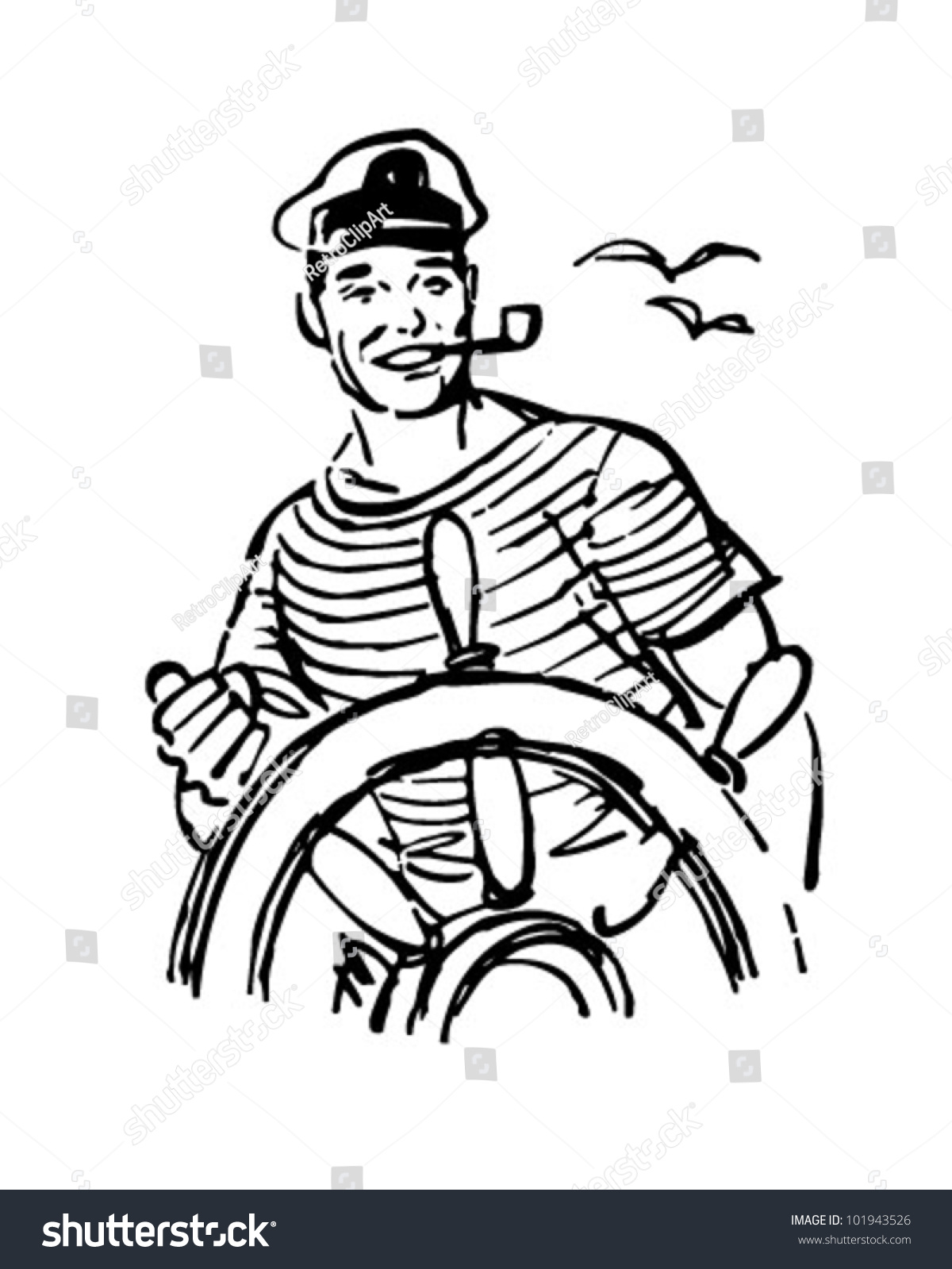Sailor stock photos illustrations and vector art - Sailor At The Helm Retro Clipart Illustration