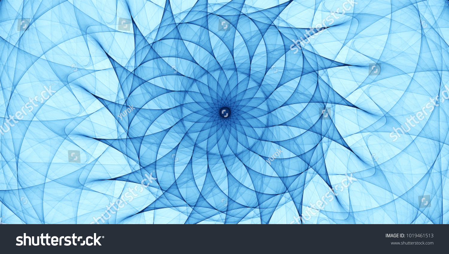 Blue Abstract Ornament Detailed Spiral Drawing Stock Illustration ...