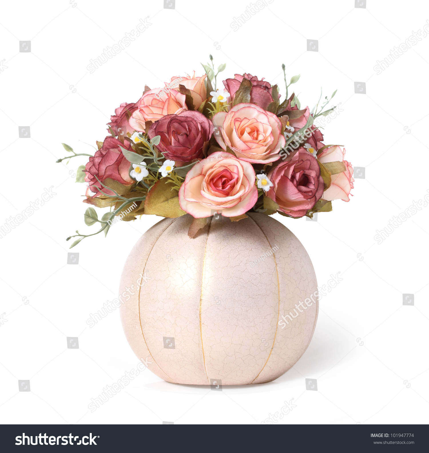 Fake Pink Rose Flower Isolated On Stock Photo Edit Now 101947774
