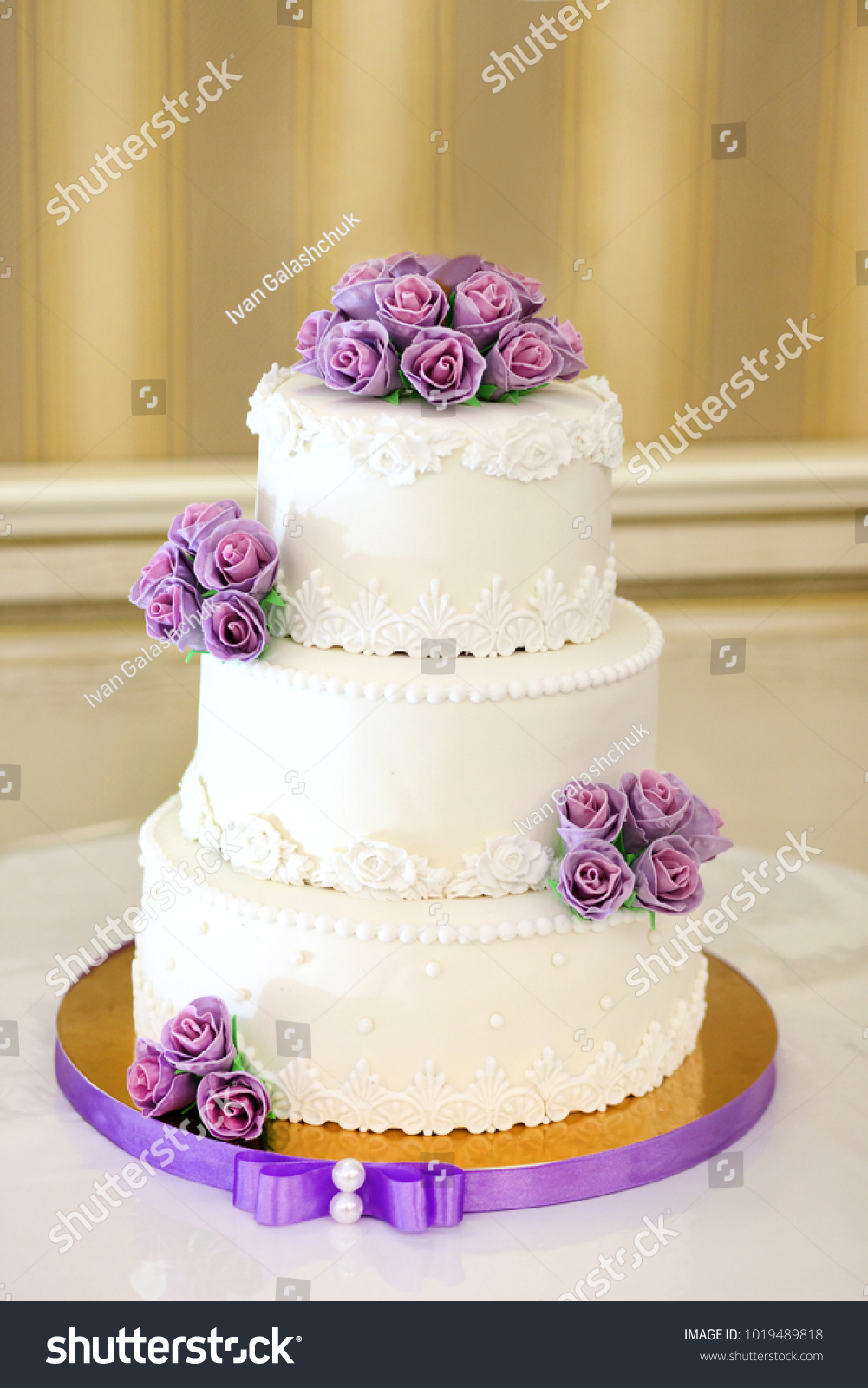 Traditional Decorative Wedding Cake Wedding Reception Stock Photo ...