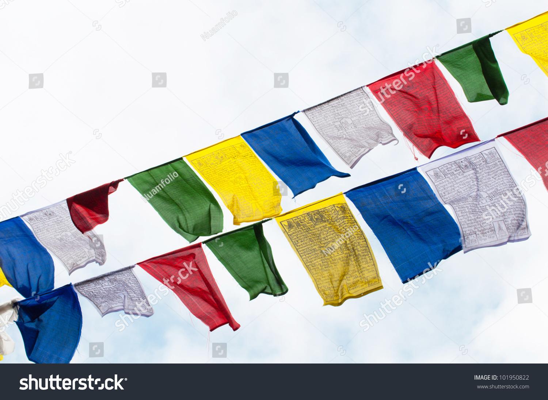Colourful Buddhist Tibetan Prayer Flags Waving Stock Photo Edit Now