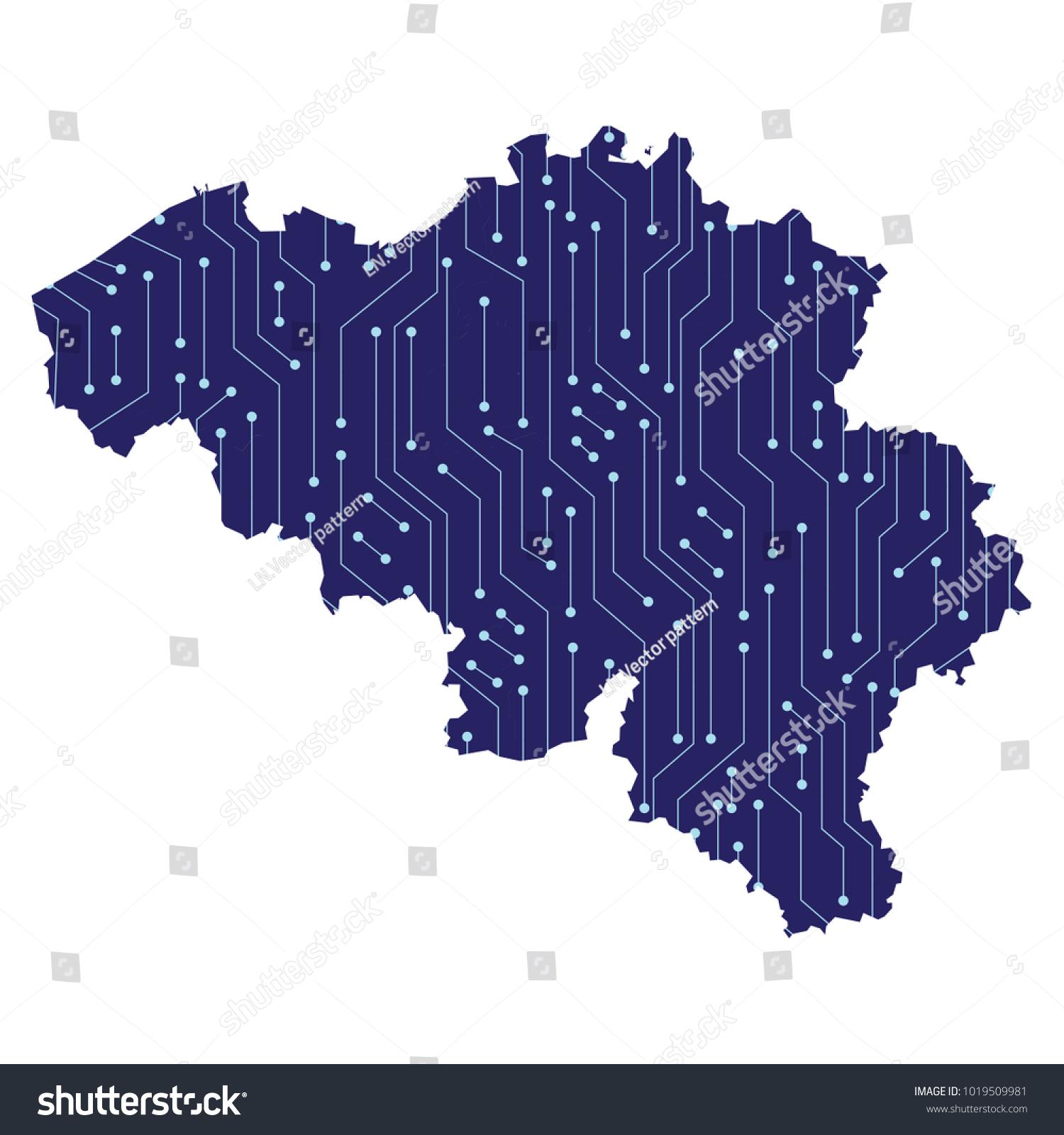 Map Belgium Technological Electronics Circuit Stock Vector Circuitmap Of With A Electronic
